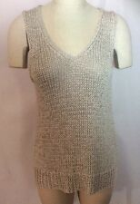 New $198 Eileen Fisher Beige V-Neck Hi Low Shell Sweater FITS SIZE SMALL