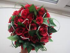 Silk Wedding Rose Bouquet Posy Dark Red Roses Handtied Bride Artifical