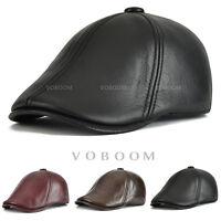 Casquette de lierre en cuir pour hommes chapeau en cuir réglable hiver Béret