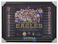West Coast Eagles 2018 Premiership Signed Official AFL Litho Framed Hurn Shuey