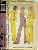 M 3939 sewing pattern 70's boho JACKET fun TOP w/ peplum PANTS sew size 14 UNCUT