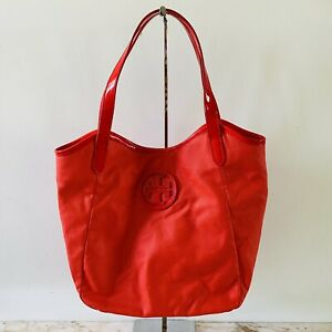 TORY BURCH Solid Red PVC Faux Leather Shoulder Bag