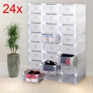 24 Boîte à Chaussures Plastique Housse Tiroir Stockage Empilable Rangement F