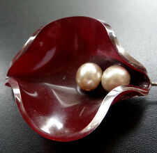 vintage unusual red celluloid cream faux pearl flower hat pin c. 1950s -M38