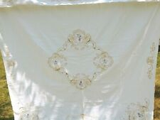 """Vintage 100% Cotton Shower Curtain Cream with Cut Outs or Craft Fabric 68"""" x 76"""""""