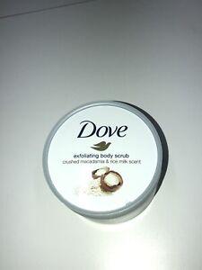 New Dove Exfoliating Body Scrub Crushed Macadamia Rice Milk Scent 225ml