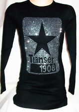 GIRLS BLACK SPARKLY SILVER STAR LOGO PRINT PARTY KNIT JUMPER TUNIC DRESS TOP
