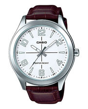 Casio MTP-VX01L-7B Men's Standard Leather Band Big Case White Dial Watch