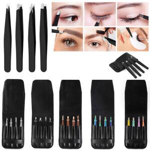 4Pcs/Set Eyelash Eyebrow Tweezer Hair Remover Clip Splinter Set w/ Leather Case;