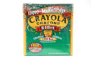 NEW 1998 Crayola Crayons Happy 40th Birthday 64 Box Limited Edition 1958 Box