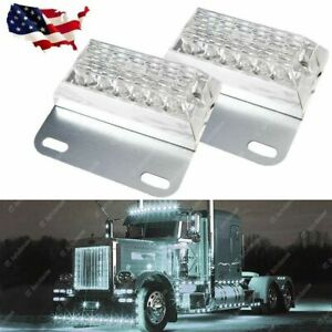 Pair White 12-LED Truck Trailer Side Marker Lights For Commercial Vehicles