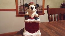 Disney Mickey Mouse Santa Mickey in Chimney Christmas Cookie Jar NICE!