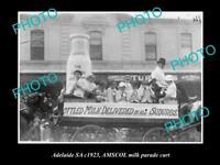 OLD HISTORIC PHOTO OF ADELAIDE SA, AMSCOL MILK Co PARADE WAGON c1923