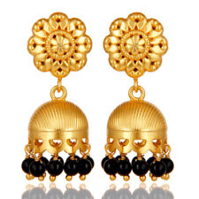Gold Plated Flower Carving Brass Jhumka Earrings Wedding Fashion Jewelry