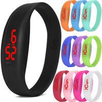 Fashion Unisex Digital LED Sports Watch Silicone Band Wrist Watches Men Women^