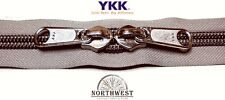 YKK Nylon Coil Zipper Tape # 10 Khaki 1 yard with 2 Nickle Zipper Sliders