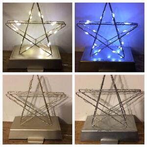 Christmas Xmas Decoration Gold Silver Star LED Light Up Stocking Hanger New