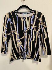 New listing J. McLaughlin Women's Top Size Equestrian Belt Buckle Black Blue Catalina Cloth