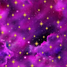 In the Beginning Magenta Sky Star Fabric 100% Quilters Cotton Religious