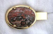 Gemstone Gem Gold Color Tie Clip Bar 1 1/2 Inch 25x18 Oval Leopardskin Jasper