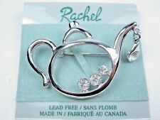 with Swarovski Crystals - 1859 Rachel Rhodium Plated Teapot Brooch