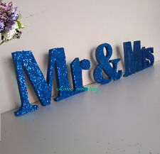 xBlue glitterMr. and. Mrs  sign set. Wedding sign set. Sweetheart table decor