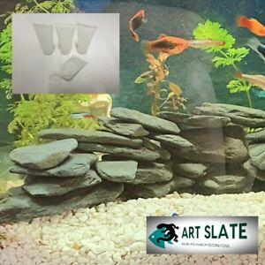 Art Slate 2kg Fish Tan Aquarium Natural Stone Dark Pebbles Decoration with glue