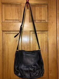 COACH Vintage Sac Soft BLACK Leather Shoulder Drawstring Bag 7717