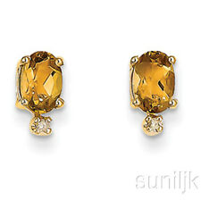 ORIGINAL citrino y Pendientes Diamante 14k ORO AMARILLO