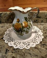 Vintage Enesco Porcelain Pitcher Hand Painted With Gold Trim