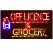 BRAND NEW SHOP FLASHING LED SIGN OFF LICENCE & GROCERY  WINDOW SIGN BOARD