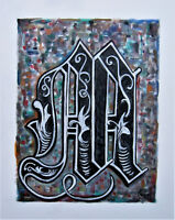 canvas original art Monogram Old English LETTER M 16x20 oil Painting Crowell US