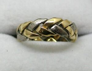 Lovely Two Colour 18 carat Gold Plait Design Wedding Ring Size K.1/2