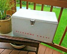 Vintage 1950's Retro Pleasure Chest Aluminum Ice Chest Cooler Rare *Look*