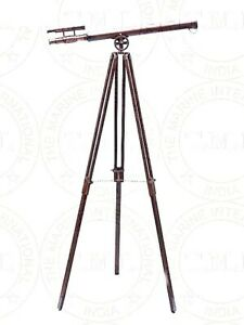 Nautical Brass Copper Antique Telescope with Wooden Tripod Stand