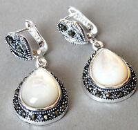 Pretty Cream White Shell Drop Gems & Marcasite 925 STERLING SILVER EARRINGS