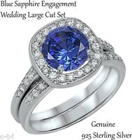 Blue Sapphire Brilliant Engagement Wedding Sterling Silver Ring Set Size 3 - 12