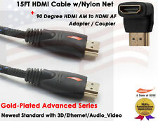 15FT Gold Plated Braided High Speed HDMI Cable+90 Degree HDMI M/F Coupler