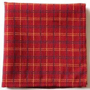 Burgundy red plaid Wool & Silk pocket square 30cm. Hand made in England