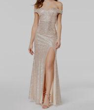 New $180 Emerald Sundae Juniors' Gold Sequined Off-Shoulder Formal Dress Size 3