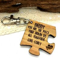 Personalised Wooden Daddy, You Are The Piece That Hold Us Together Keyring Gift