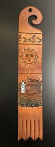 Vintage Brown Leather Curaçao Caribbean Bookmark Reading Collectible Sun Lizard