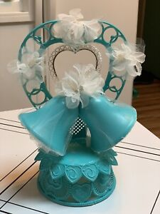 "Vintage Wedding Cake Topper Turquoise Plastic Bells 10"" Tall"