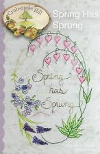 Crabapple Hill Embroidery 'SPRNG HAS SPRUNG' Bleeding Hearts, Violets Embroidery
