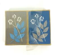 Rexall Playing Cards Dual Deck Floral Mid Century Blue Gold High Gloss Finish
