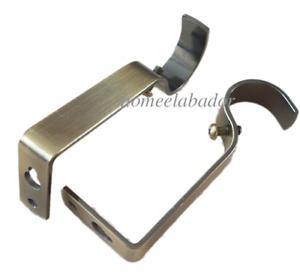 2 Heavy Duty Metal Curtain Rod Pole Holder Wall Brackets Hooks Drapery Fittings