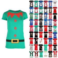 Womens Ladies Christmas Costume Elf Belted Buttons Cap Sleeve Xmas T Shirt Top