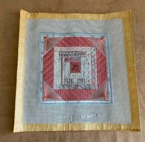 "Handmade 12"" needlework geometric spider web picture needlepoint crewel blue"