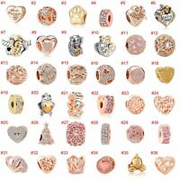 European Rose gold Charms Crystal heart Beads Pendant Fit 925 Sterling Bracelets