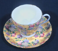 Shelley Fine Bone China Summer Glory Blue Inside Handle Tea Cup and + Saucer Set